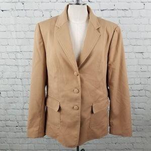 JESSICA McCLINTOCK   tan neutral jacket blazer